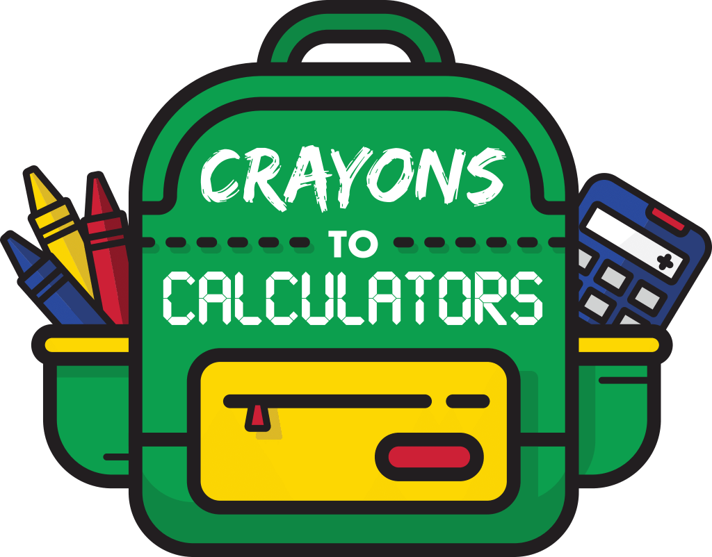 Crayons to Calculators logo with image of green backpack and school supplies